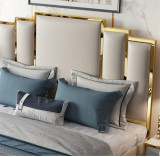Luxury bedroom furniture king size sleeping bed villa house bed room headboard double modern italian leather bed