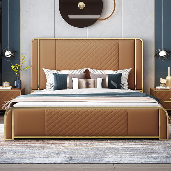 American style light luxury modern simple ultrafine fiber leather bed