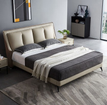 Italian very simple ultrafine fiber leather bed