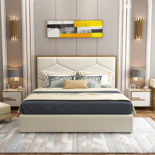 Modern and simple microfiber leather bed master bedroom