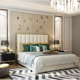 Postmodern contracted light luxury ultrafine fiber leather bed master bedroom