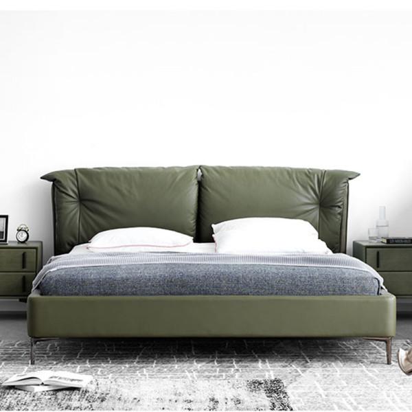 Italian very simple ultrafine fiber leather bed