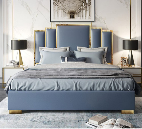Luxury bedroom furniture king size sleeping bed villa house bed room headboard double modern italian leather bed