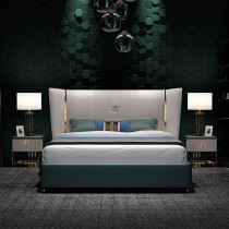 Italian minimalist bed light luxury modern Nordic contracted ultrafine fiber leather bed