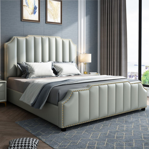 Light luxury microfiber leather bed 1.5m 1.8m double bed
