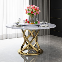 Light luxury marble dining table with rotary table