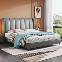 Post modern minimalist microfiber leather bed