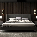 Hot sale Luxury leather king size bed with golden stainless steel frame for hotel
