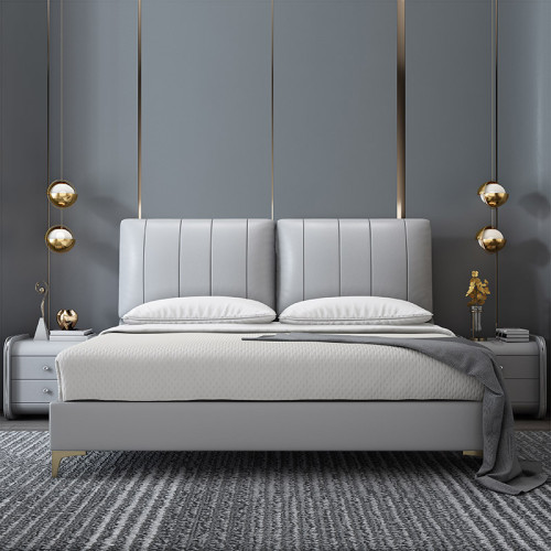 Nordic microfiber leather bed simple and modern