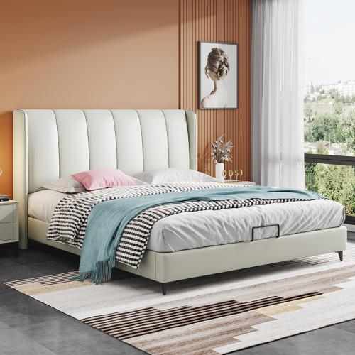 Post modern minimalist microfiber leather bed