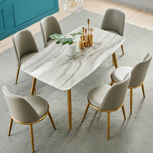 Post modern luxury marble dining table and chair