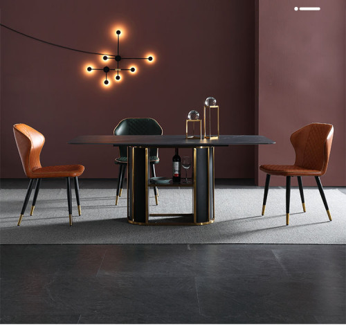 Italian stone plate marble round table light luxury modern dining table