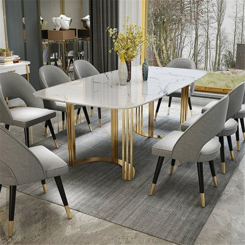 Light luxury marble dining table in northern Europe