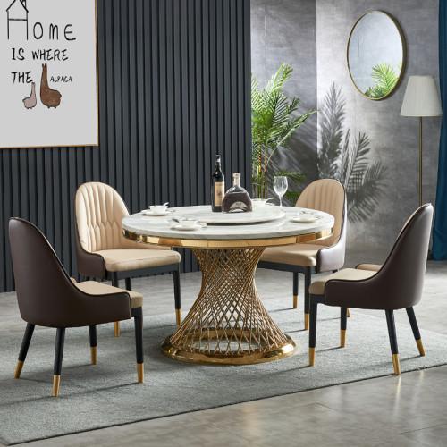 Living room light luxury marble round table