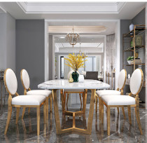 Domestic Hong Kong Style Light luxury marble dining table