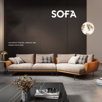 Light luxury fabric sofa modern minimalist leather cloth combined with living room