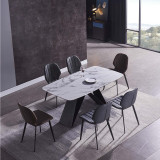 Modern European Italy 8 long black - cushioned steel Sintered Stone Rock board Marble Dinning Table ceramic dining table