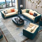 Luxury Post-Modern Italian Style Golden Stainless Steel Framed Blue Sofa Set