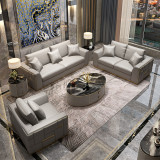 Luxury American Style Modern Living Room Leather Sofas Stainless Steel Leg Sofa Furniture