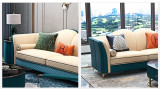 Luxurious Post-Modern Italian Style Golden Stainless Steel Framed Blue Sofa Set
