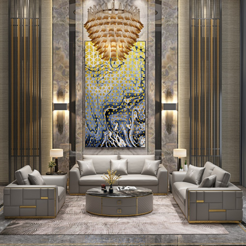 Customized Italian light luxury leather sofa modern simple block splicing design single double three person living room villa Furniture Customization