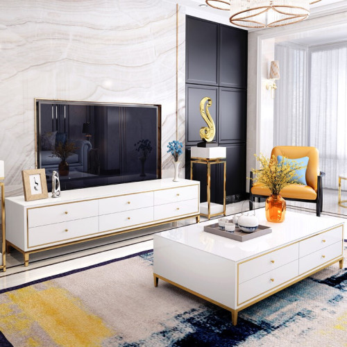 Light luxury tea table TV cabinet combination post modern stainless steel gilded small family living room tempered glass furniture