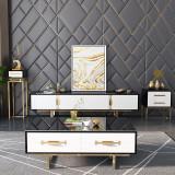 Luxurious tea table living room simple stainless steel gold plated tea table modern, light luxury tea table TV cabinet combination