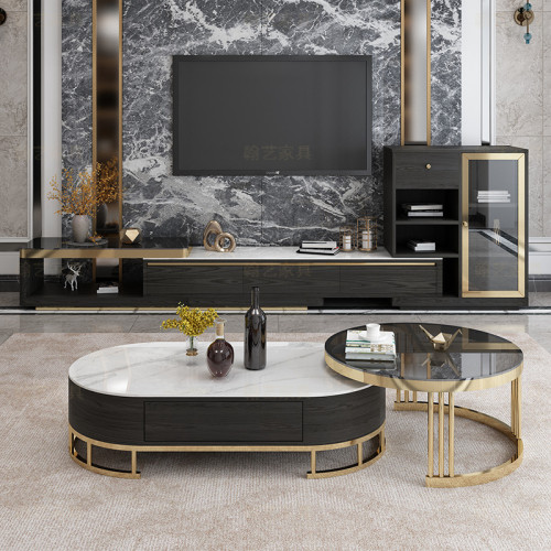 Light luxury oval tea table round table lacquer baking creative living room Marble Slate retractable coffee table TV cabinet combination