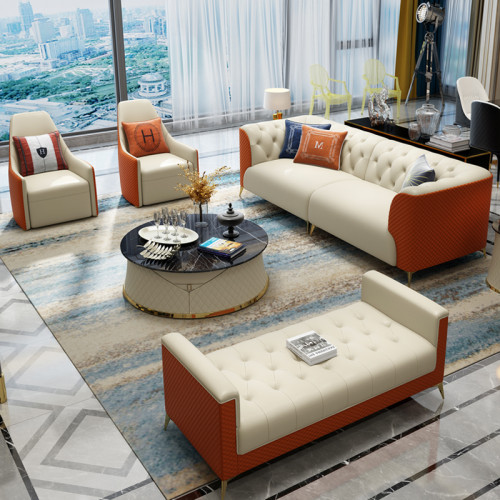 Hong Kong Style Light luxury leather sofa combination post modern living room combination