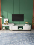 Contemporary Gold Metal base Wooden TV cabinet and coffee table with drawers and doors for house