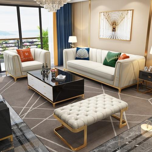 Leather sofa living room light luxury modern simple leather sofa combination