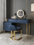 Modern dressers Luxury design vanity makeup table leather and stainless steel dressing table with mirror and stool