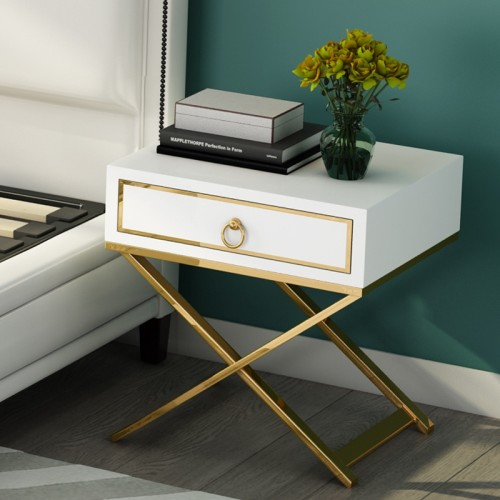 Nordic simple modern bedside cabinet light luxury stainless steel single drawer storage cabinet