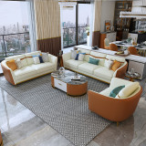 Light luxury sofa post modern simple leather sofa American style living room double three person leather sofa combination