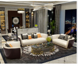 Luxury American Style Modern Living Room Leather Sofas Stainless Steel Leg Sofa Furniture For Hotel Room