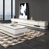 Modern luxury coffee table and TV stand set golden stainless steel frame tea table with drawer