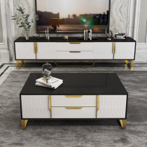 Post modern light luxury tea table TV cabinet combination simple Nordic living room ground cabinet tea table