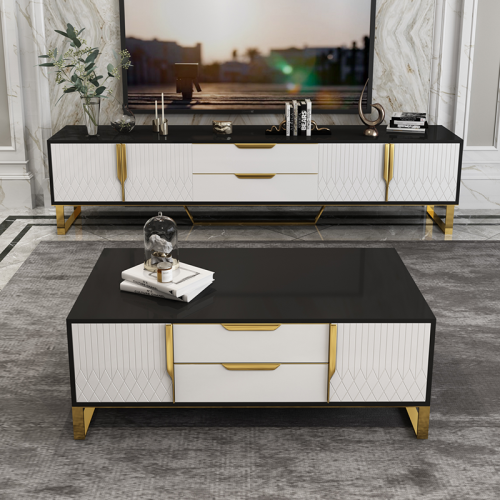 Post modern light luxury tea table TV cabinet combination simple Nordic living room ground cabinet tea table