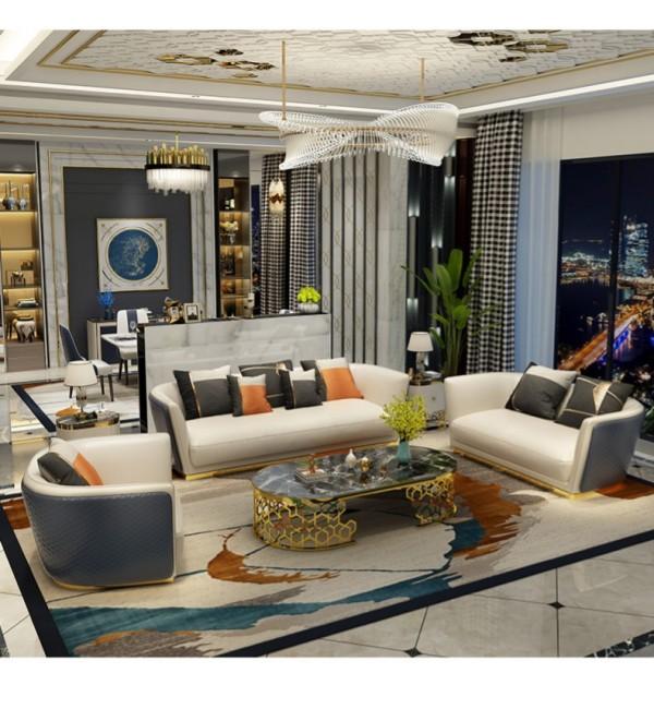 Nordic simple leather sofa, Italian light luxury living room, large family villa post modern combination sofa