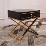 Modern Desig high qullity Wooden Light Luxury nightstand bedside table with Drawer