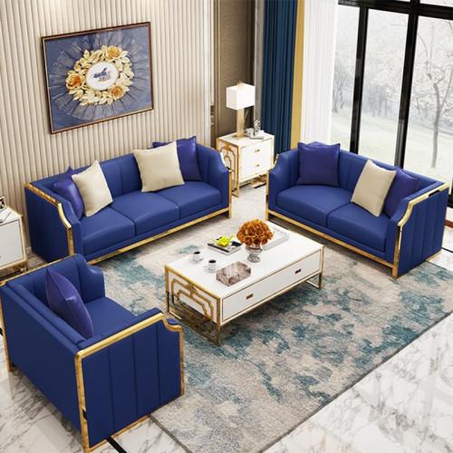 American light luxury metal frame leather art apartment living room