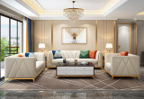 Leather sofa living room light luxury modern simple leather sofa combination