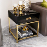 European modern wooden night table black piano paint nightstand bedside tables for bedroom