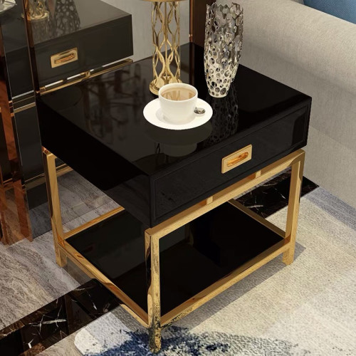 Sofa side a few baking varnish light luxury post modern stainless steel gold tea table flower table bedroom bedside table