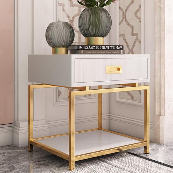 Sofa side a few baking varnish light luxury post modern stainless steel gold tea table flower table bedroom bedside table