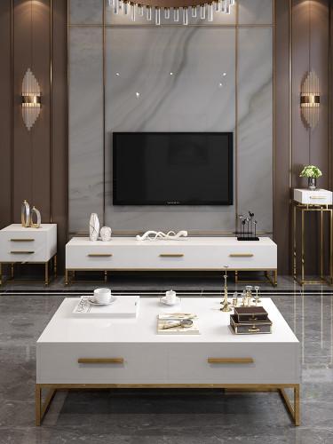 Nordic Light luxury tea table TV cabinet combination post modern living room floor cabinet