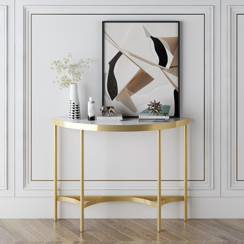 Light luxury style porch table simple and beautiful decoration shelf corridor by wall porch cabinet modern simple American semicircle porch