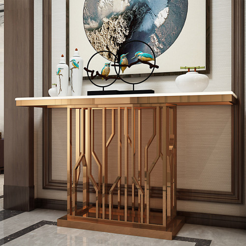 Nordic style simple porch table corridor wall shelf post modern luxury stainless steel marble porch