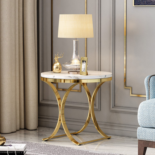 Nordic living room marble tea table sofa edge a few light luxury corner several round