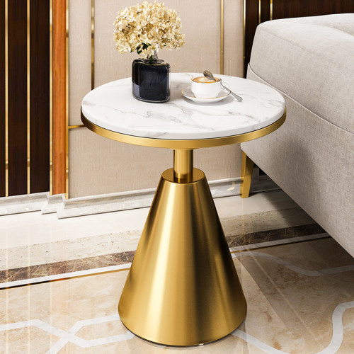 Post modern stainless steel metal edge few luxury round corner table